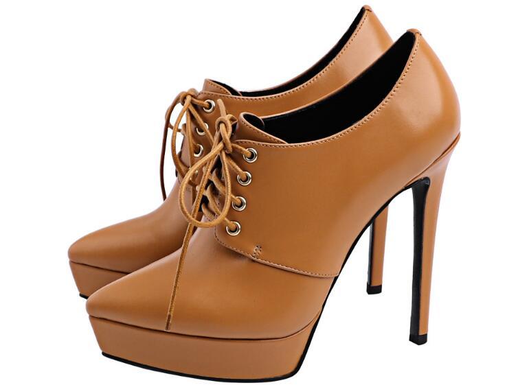 Осень Зима Женская обувь с острым носком тонкий каблук супер Обувь на высоком каблуке модный дизайн из натуральной кожи на платформе на шну