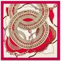 Супер Большой Саржевого Шелковый Шарф Женщин 100*100 см Металл компас pattern Печати Квадратные Шарфы Способа Высокого Качества Подарок шелковые Платки