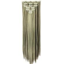 Soowee 15 Цветов 60 см Длинные Прямые Черные Светлые Волосы Высокое Tempreture Волокна Синтетические Волосы Площадку Зажим В Выдвижении Волос Полный глава