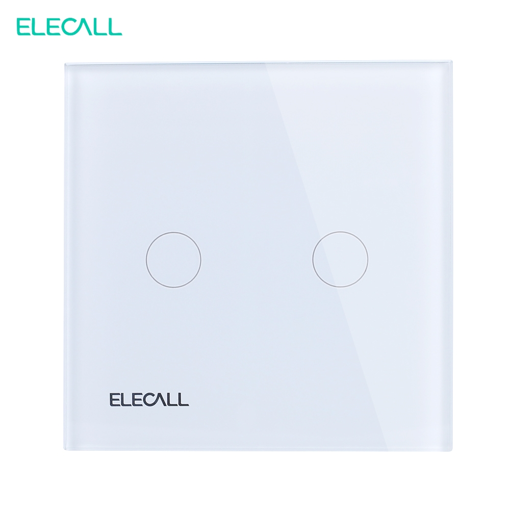 ELECALL EU standard Touch Switch  Wall Light Touch Screen Crystal glass panel 2 gang 2 way SK-A802-02EU smart home eu touch switch wireless remote control wall touch switch 3 gang 1 way white crystal glass panel waterproof power
