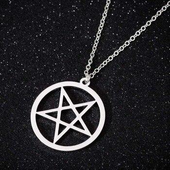 Yiustar Satanic Necklace Devil's Trap Pentagram Pentacle Retro Antique Pendant Stainless Steel Jewelry Everyday Jewellry Gift недорого