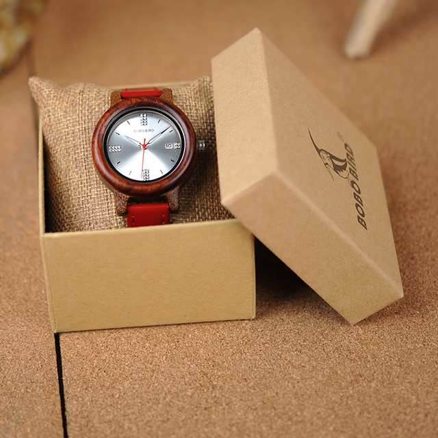 Women Wood Watch PU Strap Wristwatches Female  5