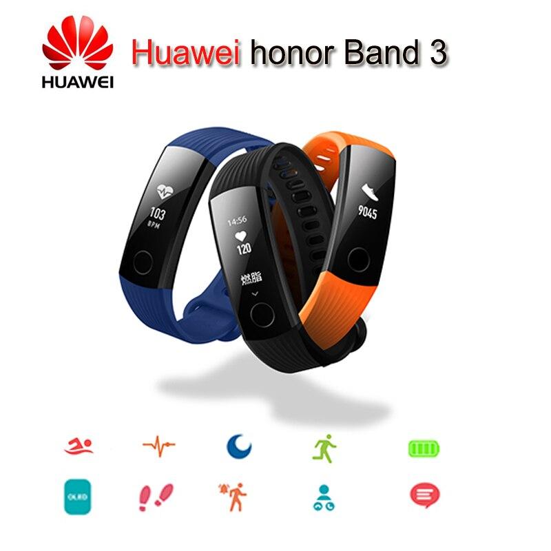 Original Huawei Honor Band 3 banda inteligente monitoreo de ritmo cardíaco en tiempo Real 50 metros resistente al agua para natación Fitness Tracker
