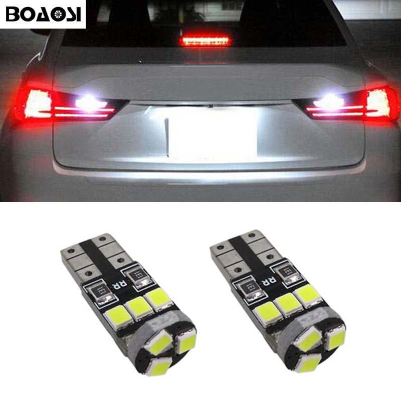 BOAOSI 2x <font><b>CANbus</b></font> T10 W5W <font><b>LED</b></font> Samsung 2835 Chip License Plate Light For Nissan Juke Micra III (K12) Micra IV (K13) Note (E11)
