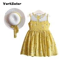 YorkZaler 2 PCS Set Summer Girls Dress With Hat Sleeveless Mesh A Line Teenagers Kids Dress