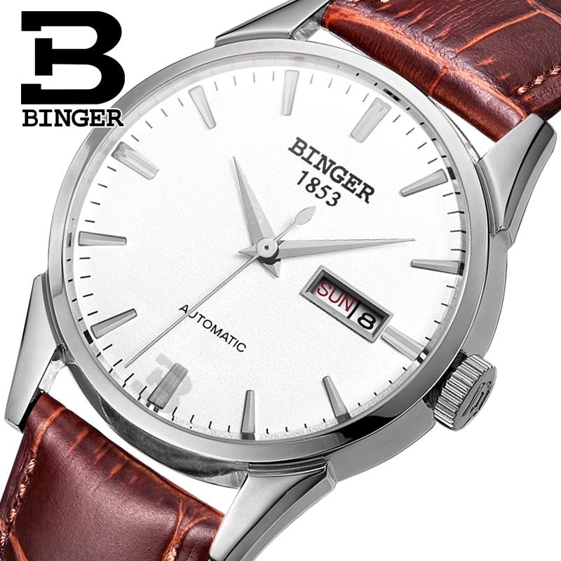 Швейцария мужские часы люксовый бренд Наручные часы Бингер 18 К золото автоматический self-ветер Полный нержавеющая сталь Водонепроницаемый ...