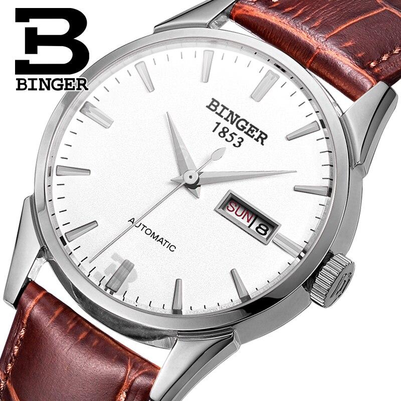 Suisse hommes montre de luxe de marque Montres BINGER 18 k or Automatique auto-vent complet en acier inoxydable étanche B1128-18