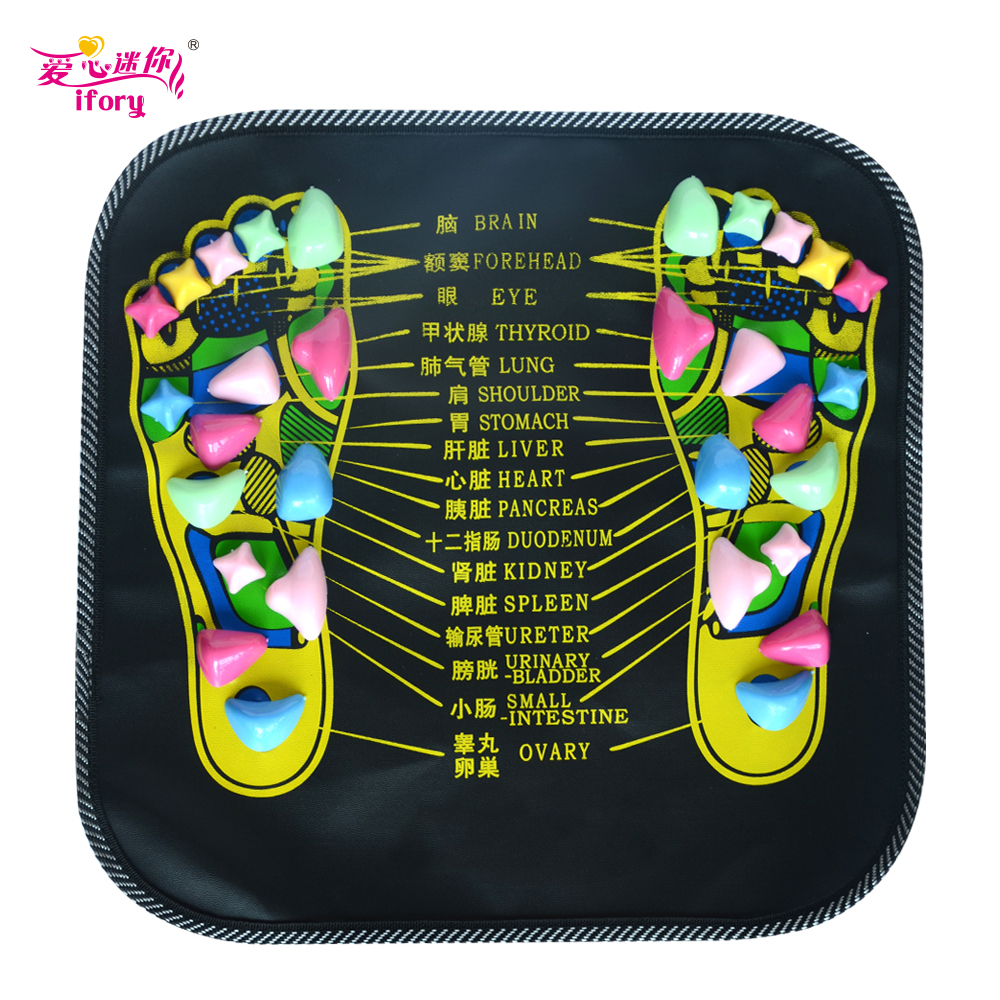 IFORY Foot Massager Cushion Pad Acupuncture Cobblestone  Mat Foot Health Care Acupressure Pad massageador hthl chinese health care colored plastic walk stone square healthy foot massage mat pad cushion