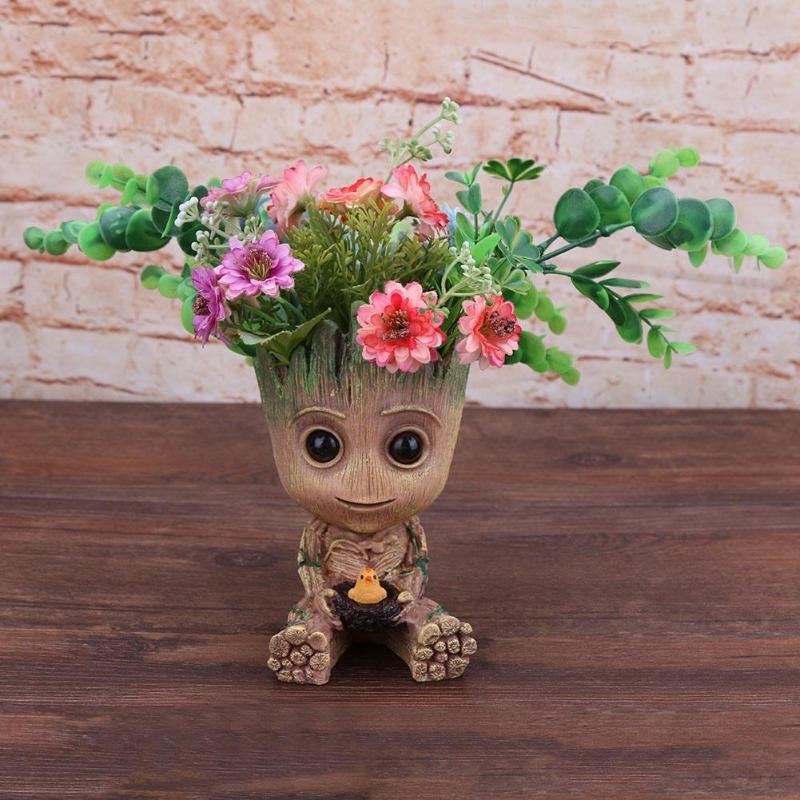 Baby Groot Blumentopf Pflanzer Stift Halter Blumentopf Desktop PVC Action-figuren Spielzeug Home Garten Decor Blumentopf Pflanzen Pflanzer