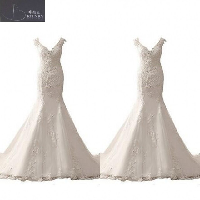 Trumpet Wedding Dress V Neck Fishtail Silhouette Tered Beaded Lace Liqued Gowns