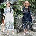 Brocade Cotton Thin Soft Holiday Travel Casual Dress Print Floral Loose Summer Dress Plus Size Women Prairie Chic Midi Dress
