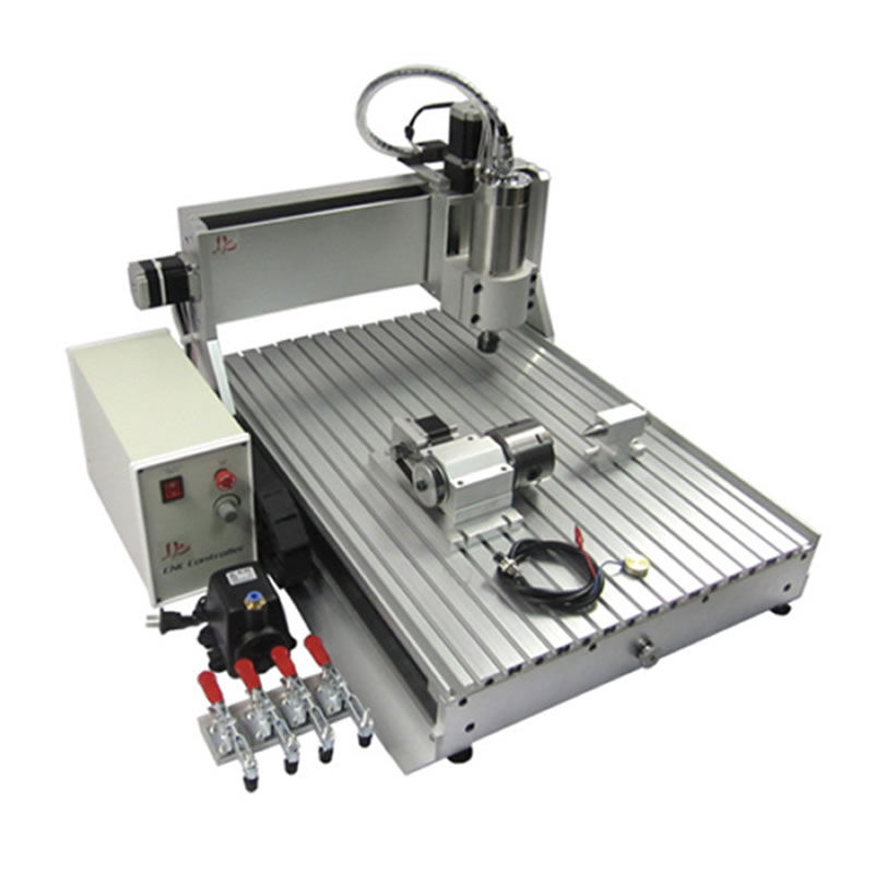 3D CNC Router Engraver 6090 4 Axis CNC Milling machine with 1.5KW water cooled spindle for Acrylic,wood, metal cutting 4 axis cnc machine cnc 3040f drilling and milling engraver machine wood router with square line rail and wireless handwheel