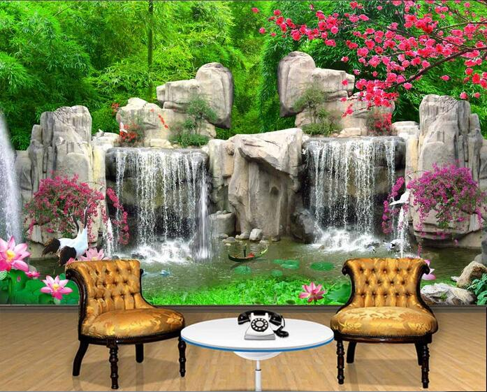 3d room wallpaper custom mural non-woven picture 3d Mountain waterfall lake flowers ships painting photo wallpaper for walls 3d customize wallpaper for walls 3 d swan lake picture in picture 3d tv backdrop 3d photo wall mural 3d landscape wallpaper