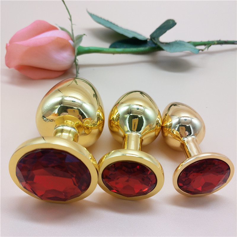 AUEXY Golden Huge L Anal Jewel Plug Metal Buttplug Big Analplug Stainless Steel Butt Plugs Large Adults Sextoy for Woman Men Gay in Vibrators from Beauty Health
