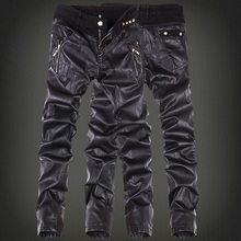 Korean Fashion cool Mens rock leather-based pants Black fake Tight skinny Plus dimension 30 31 32 33 34 36 Punk trousers