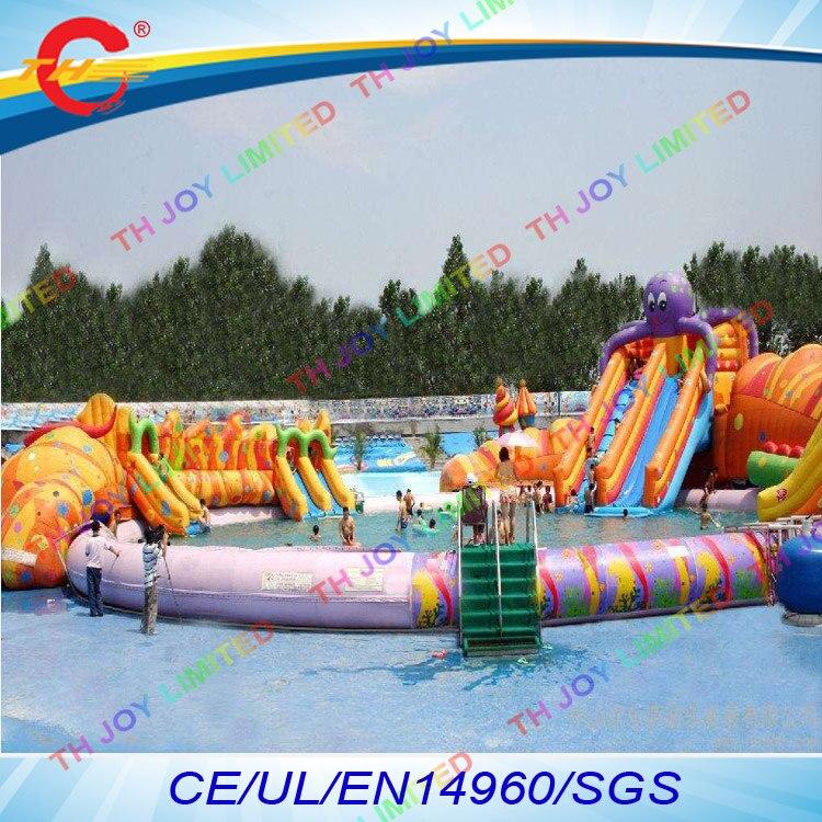 Freies meer schiff zu port 5 teile los riesen octopus aufblasbare aqua amusement park aufblasbare wasser
