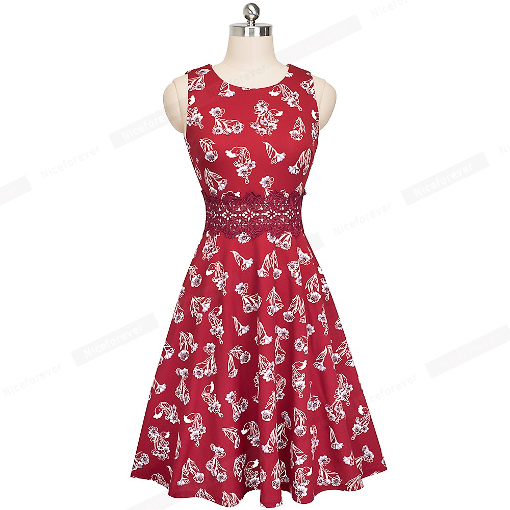 Nice-forever Vintage Elegant Embroidery Floral Lace Patchwork vestidos A-Line Pinup Business Women Party Flare Swing Dress A079 126