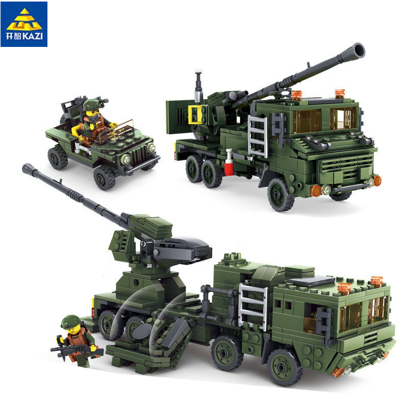 2 In 1 Field Army Series 594pcs Missile Launcher Military Building Blocks Brick Toy 84039 pvc building blocks army field combat military escort weapons