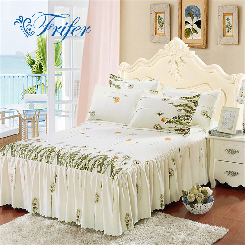 Bed Skirt Korean bedspread Suite Single Bed Single Bed Hat Bedspread Flowers Print Spring Elegant Bed Skirt 150*200cm