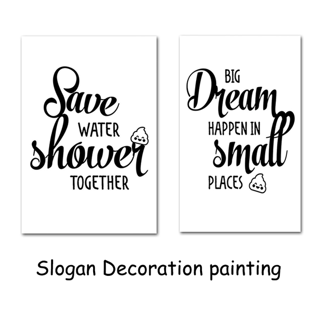 bathroom quotes toilet letter decoration painting wall art prints unframed canvas drawing core - Bathroom Quotes