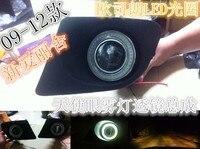 Eosuns инновационные УДАРА Ангел глаз светодиодные дневного света DRL + Галогенные Противотуманные фары + объектив проектора для Citroen Elysee 2009 12