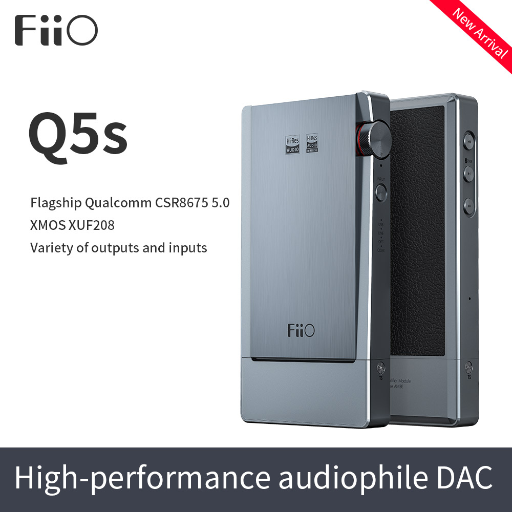 Q5s FiiO DAC & Amplificador de Bluetooth 5.0 AK4493EQ DSD-Capaz, USB DAC Amplificador Q5s para iPhone/computador/Android/Sony