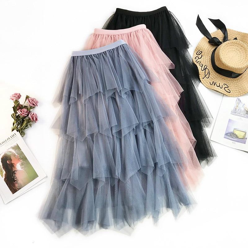 AcFirst Autumn Women Fashion Pink Blue Black Skirt Mesh High Waist Lace Ruffles Pleated Ankle Length Long Chiffon