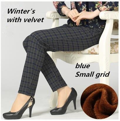 Large size 2018 Winter Women grid Pants Warm sweat Plus Thick Velvet Pants Slim High Waist Stretch Pencil Pants Female Trousers