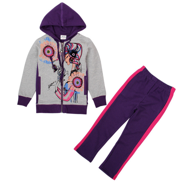 Muchacha de la ropa de los hoodies de los niños desgaste de los niños chaqueta año nuevo Sudaderas para chicas adolescentes deportes del bebé trajes de ropa de algodón