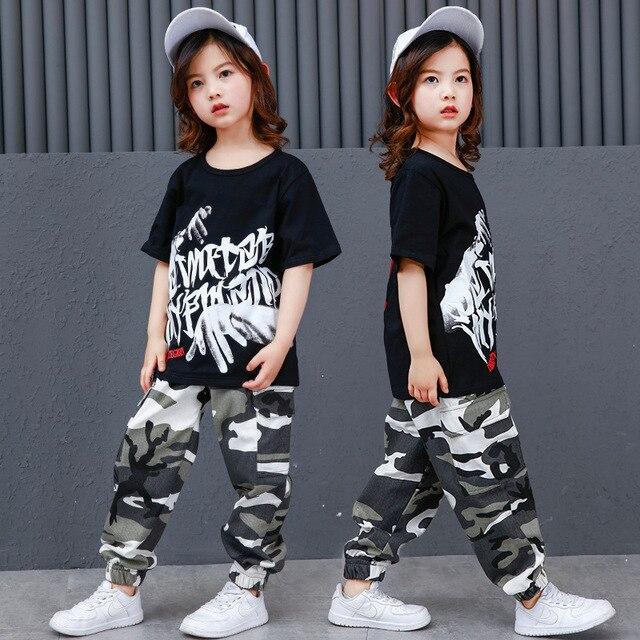 Chico Hip Hop ropa Casual T camisa de camuflaje pantalones para niñas niño  danza traje de 0d9d61983ea