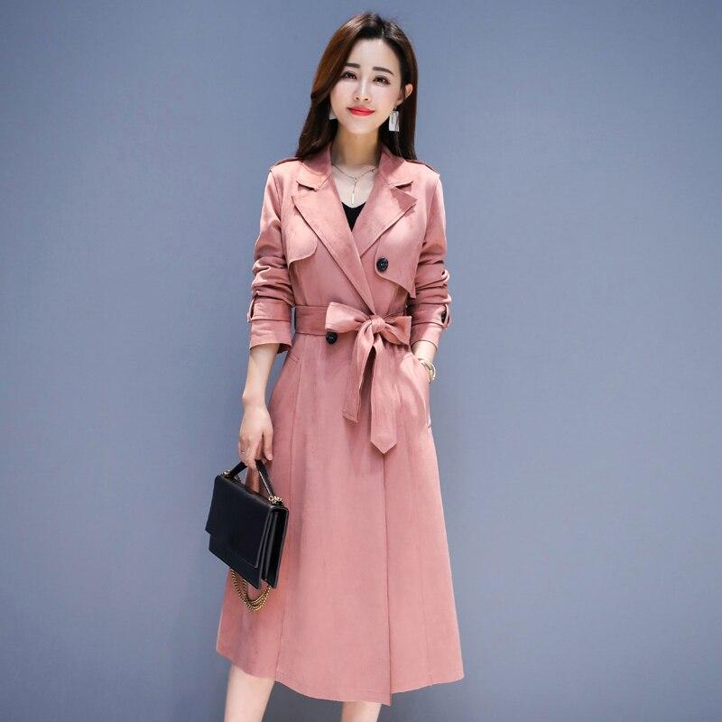 breasted vent Pardessus 2019 Qualité Double coat Printemps Coréen Manteau Supérieure Pink Coupe Mode Mince Nouveau Dames Femmes Trench Long Automne EI2DW9H
