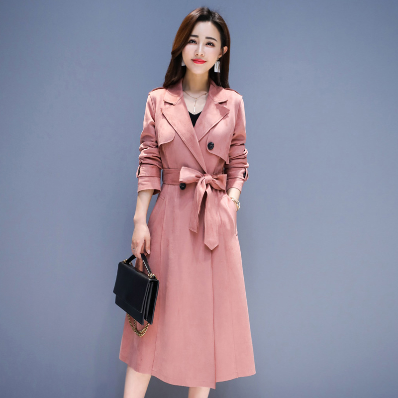 2019 Spring Autumn Fashion New Ladies   Trench   Coat Double-breasted Overcoat Korean High Quality Slim Long windbreaker Women Coat