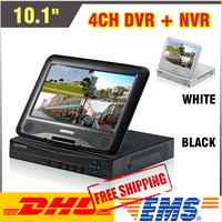 Upgraded 10.1 Incn Monitor LCD CCTV 4ch DVR HVR Recorder All In One DVR 4 channel H 264 Full D1 Output Digital Video Recorder