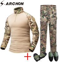 S.ARCHON Military Camouflage Tactical Uniform Set Men US Army Soldier Paintball Clothes Suit Combat Shirts Cargo Pants Knee Pads