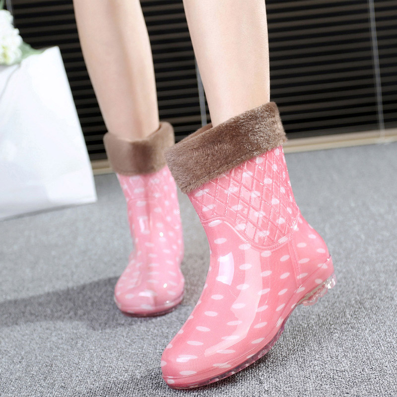 2016 Winter Warm Spot Rain Boots With Cotton Padded Ladies Rubber Pvc Mid-Calf Boots Flats Waterproof Shoes Woman Rainboots nuckily men mid calf socks warm cotton made