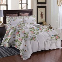 Chinese flowers and birds Bedding Quilt Cover Duvet Cover Set Pillowcase Microfiber Soft Comforter Bedroom Single Queen King