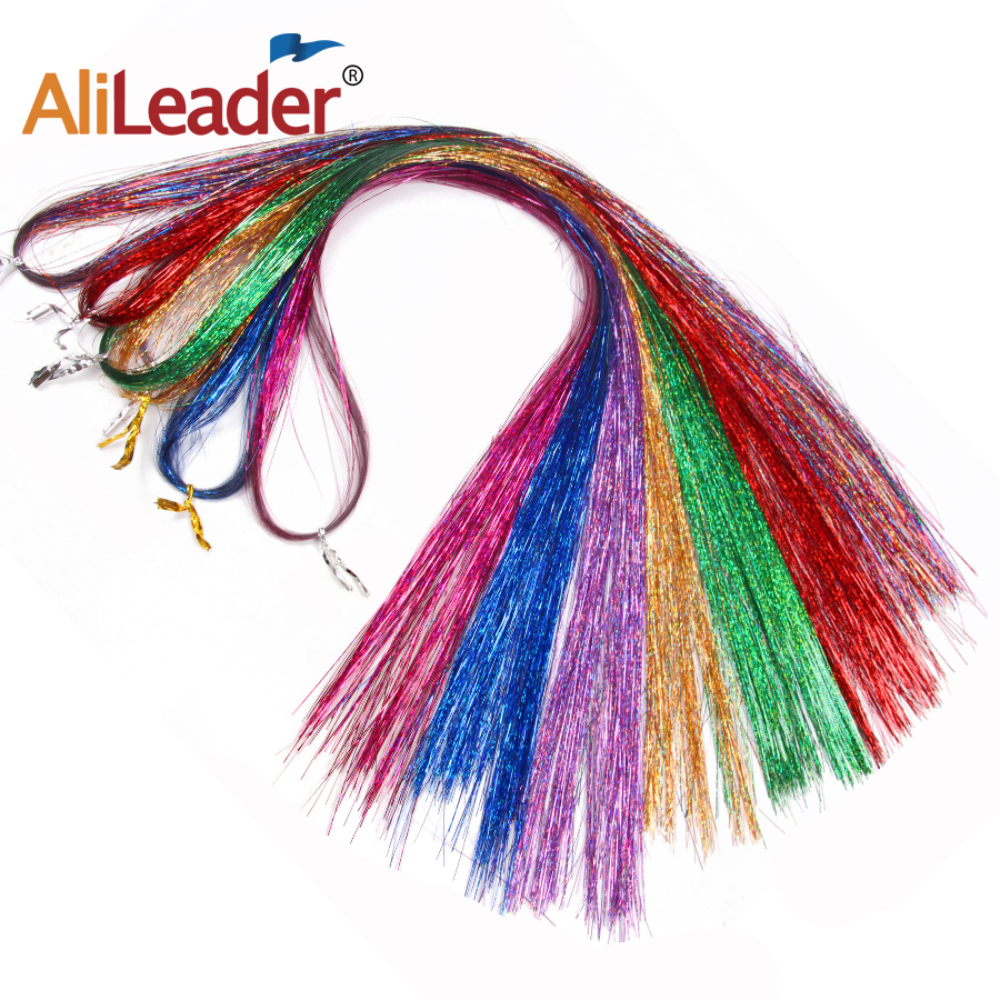 """36"""" 100 Strands Colorful Long Decoration Bling Rainbow Silk Hair Extensions Dazzles Sparkle Shiny Tinsel Blue Pink Purple Green 5"""