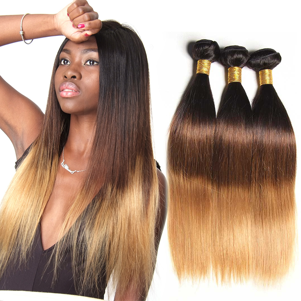 Ombre brasilianska Straight Hair Bundles 3 Tone Honung Blonde Ombre Remy Human Hair Bundles 100% Human Hair Extension 1B 4/27 (30)