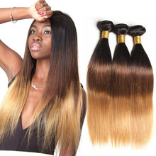 Ombre Brazilian Straight Hair Bundles 3 Tone Honey Blonde Ombre Remy Human Hair Bundles 100% Human Hair Extension 1B 4/27(30)(China)