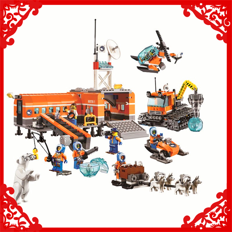 BELA 10442 City Arctic Base Camp Model Building Block 783Pcs DIY Educational  Toys For Children Compatible Legoe bela 10439 compatible lepin city arctic helicrane building blocks policeman figure toys for children girls