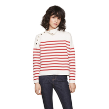 Women Sexy Red Striped Chic Pullover Casual Slim Basic Female Sweater Autumn Metal Buttons Long Sleeve Sweater For Wholesale