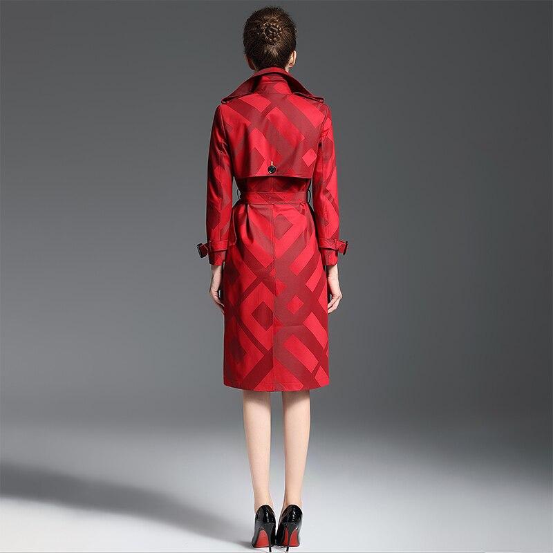 Damskie jakości wykop płaszcz wiosna jesień długa chusta wzór pas przycisk talii Slim płaszcz kobiet poliester czerwony klapa trencz w Trencze od Odzież damska na  Grupa 3