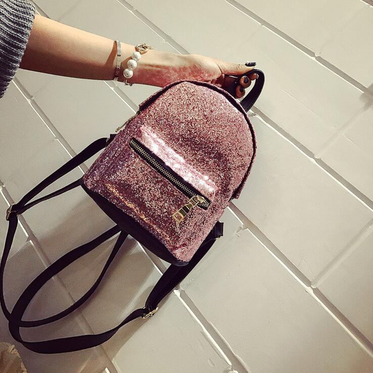 2017 spring fashion new Women Backpack High quality PU leather Sequin sweet shoulder bag College Teenage Travel mini Rucksack free shipping fashion new women backpack high quality pu leather girl shoulder bag crocodile pattern rivet travel mini backpack