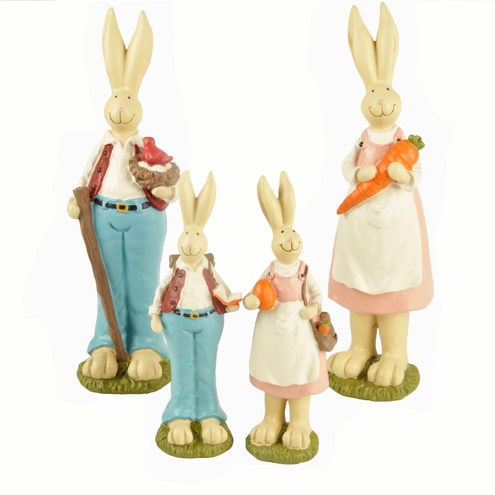 2Pcs/set Ennas Collection Bunny Rabbits Sets Resin Fairy Garden Miniatures Craft Home Decor For Easter Day Gift