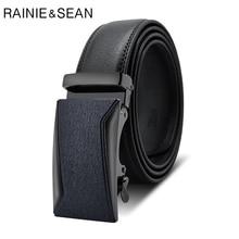 цена RAINIE SEAN Men Belt Genuine Leather Black Men Automatic Belt Luxury Designer Brand Business Metal Buckle Male Cow Leather Belt онлайн в 2017 году
