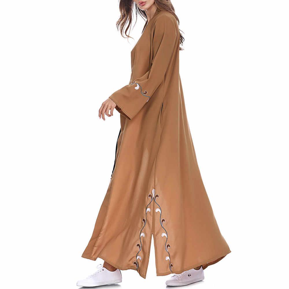 Womail мусульманские, исламские женщины кардиган с вышивкой длинное пальто Ближний Восток длинный халат хиджаб Абая для женщин платье C30118