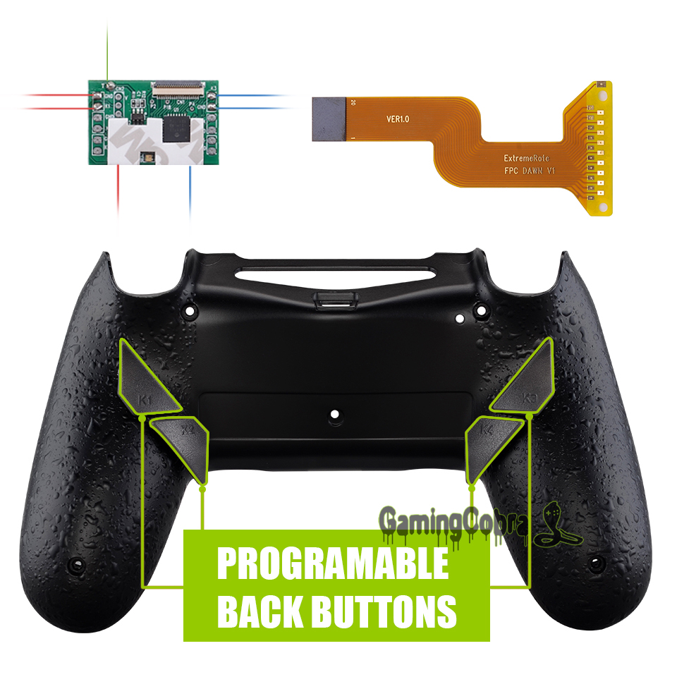 Textured Black Dawn Programable Remap Kit for PS4 Slim Pro Controller <font><b>JDM</b></font> 040/050/<font><b>055</b></font> w/ Custom Back <font><b>Shell</b></font> & 4 Back Buttons image