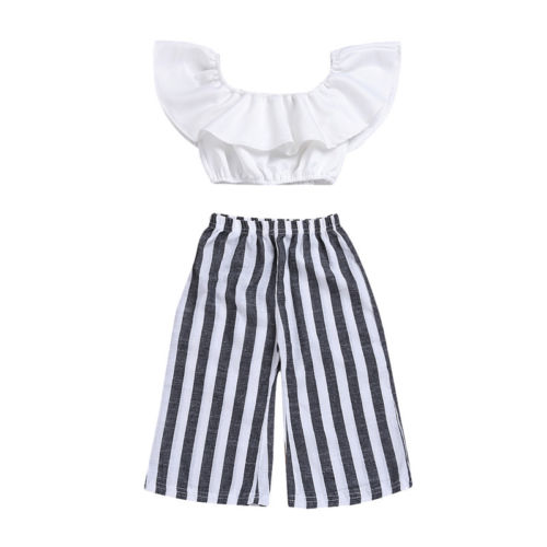 2PCS White Newborn Baby Girls Off Shoulder Ruffled Crop Tops Stripe Loose Pants Leggings Outfits Clothes Set Summer Casual