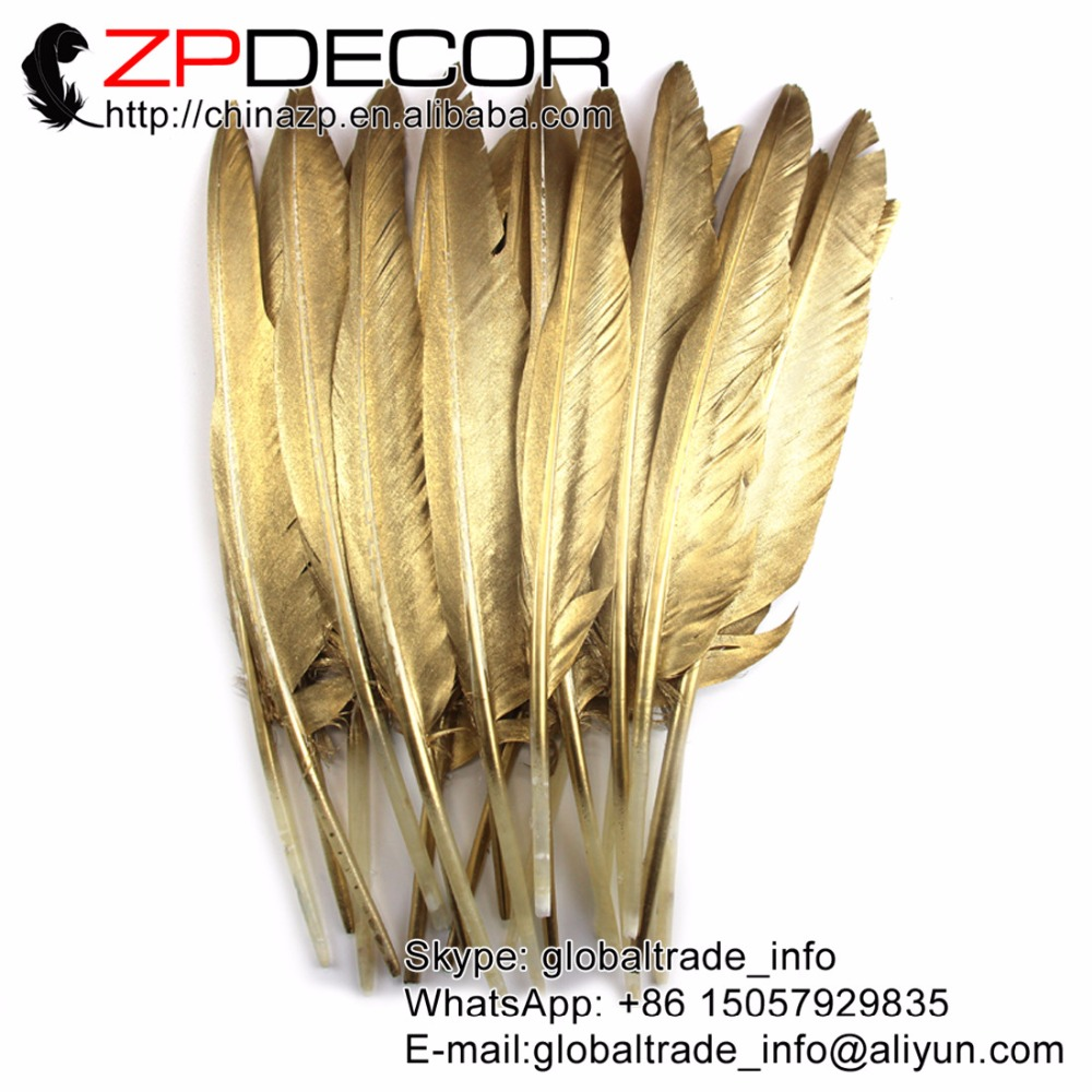 NEW ARRIVAL ZPDECOR Feather30-35cm(12-14inch)100pieces/lot Special Gilded Gold Goose Sword Feather
