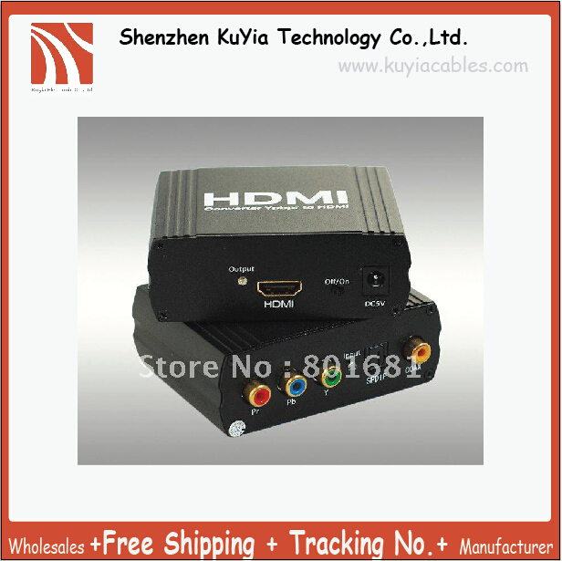 KUYiA Free Shipping Assured Quality  Brand New YPbPr+SPDIF TO HDMI Converter With Retail Package Wholesales